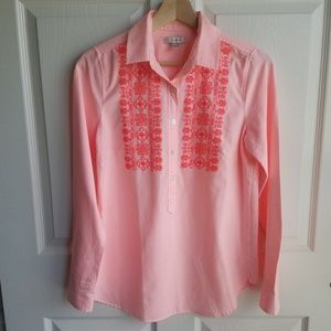 J Crew Pink Embroidered Neon Stripe Top Size 2